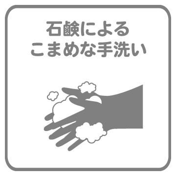 石鹸によるこまめな手洗い