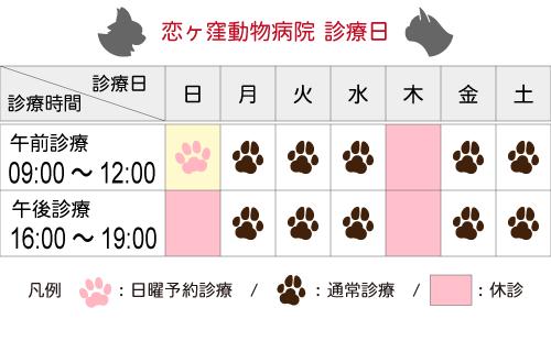 診療日/時間|国分寺市 恋ヶ窪動物病院